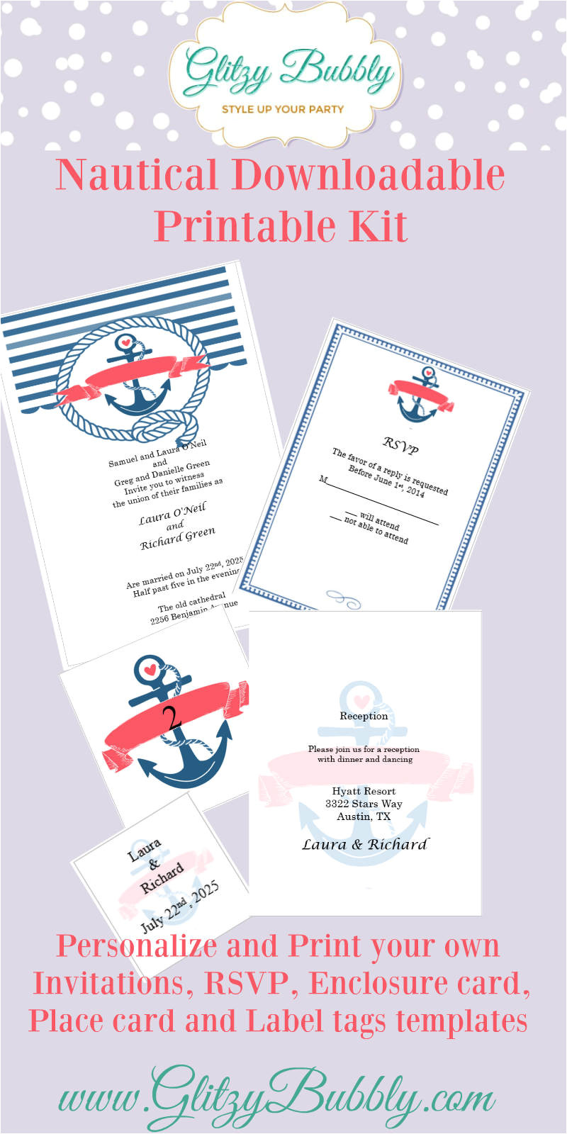 free printable nautical wedding invitations