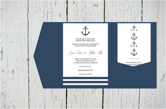 nautical pocket wedding invitation