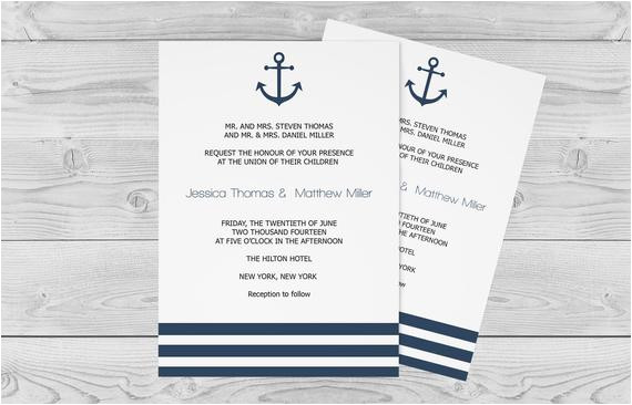 nautical wedding invitation template 5 x