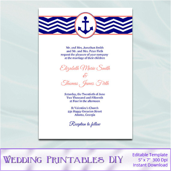 nautical wedding invitations template