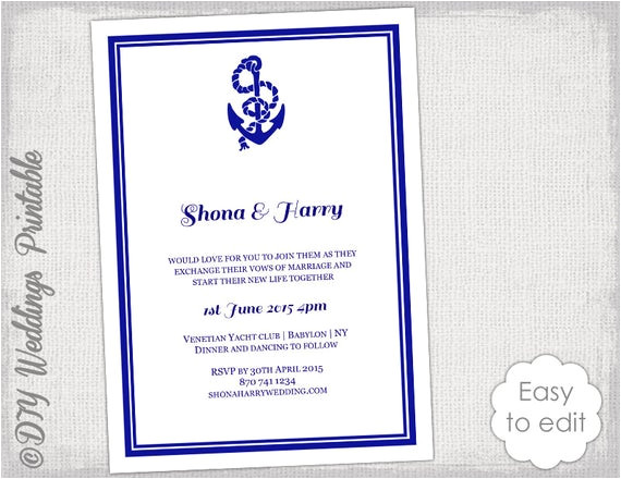 printable nautical wedding invitation