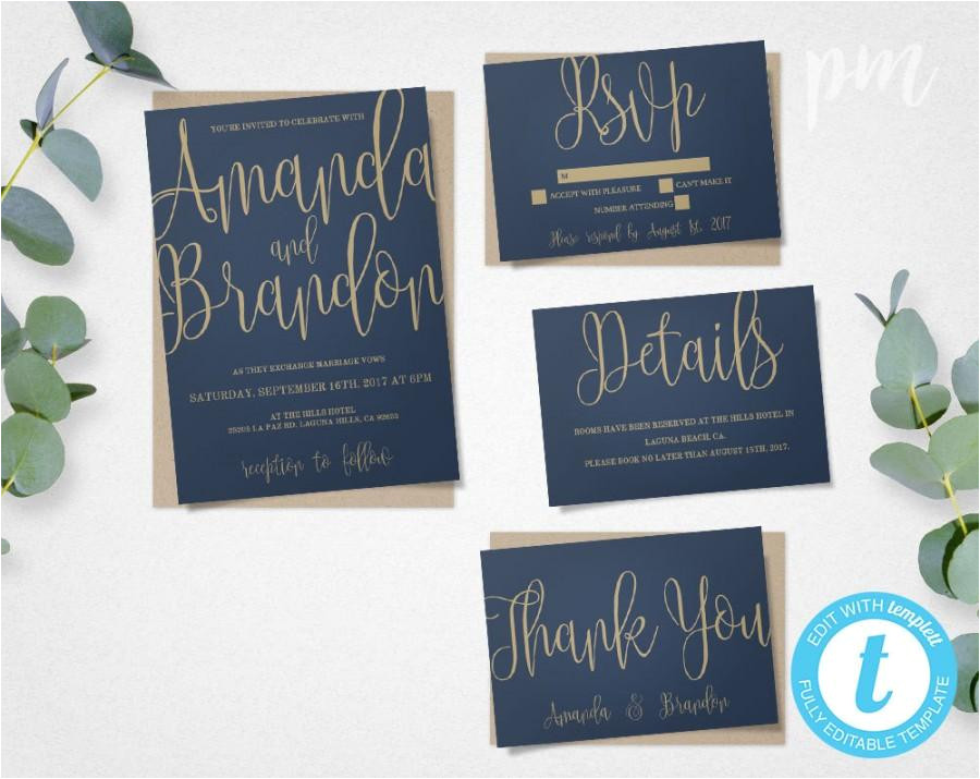blue gold wedding invitation template suite navy calligraphy script printable invitation instant download diy wedding invitations