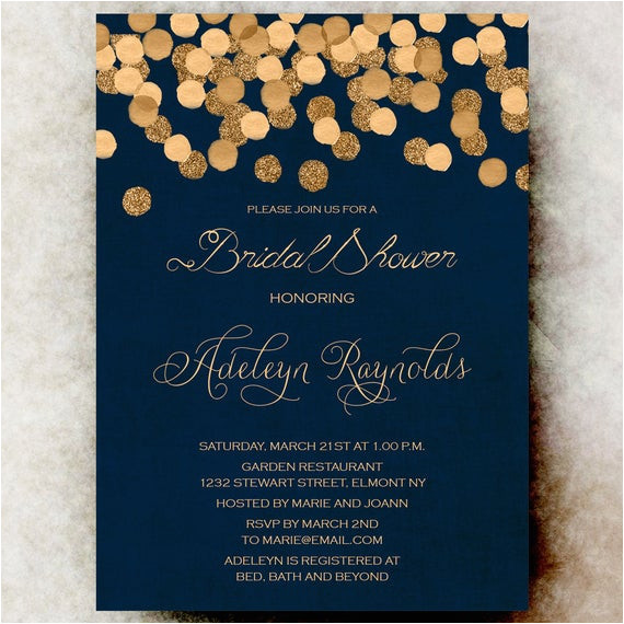 navy blue gold bridal shower invitation ref shop home active 2