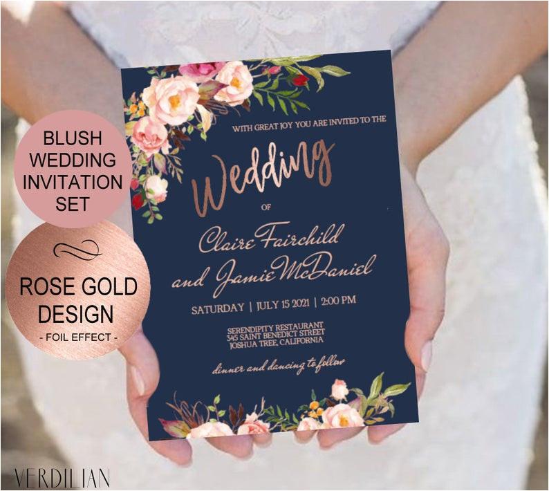 navy blush rose gold wedding invitation