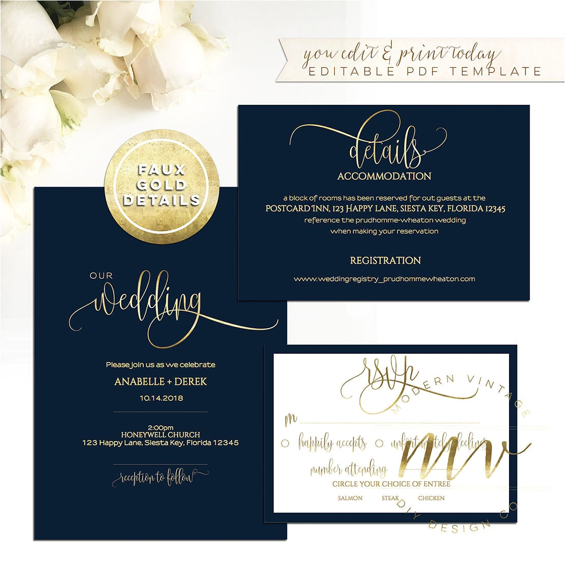 navy gold calligraphy wedding invitation
