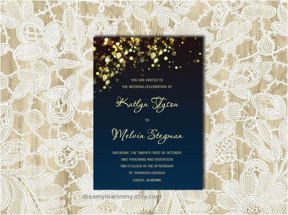 navy wedding invitation template gold amp amp