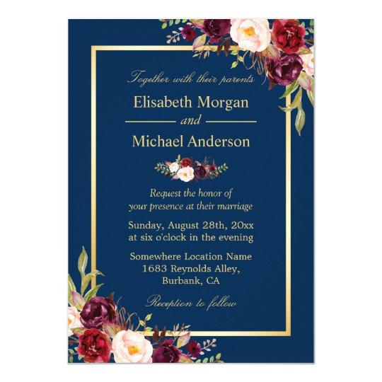rustic burgundy floral gold navy blue wedding invitation 256637133634613225