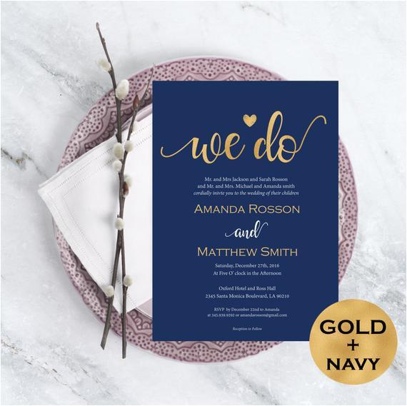 wedding invitation template navy blue