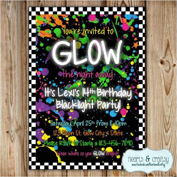 glow in the dark party invitation neon