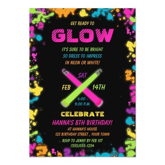 glow party neon birthday invitation 256294768860826202