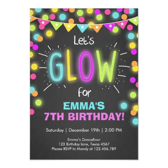 neon glow in the dark birthday invitation 256165106446064488