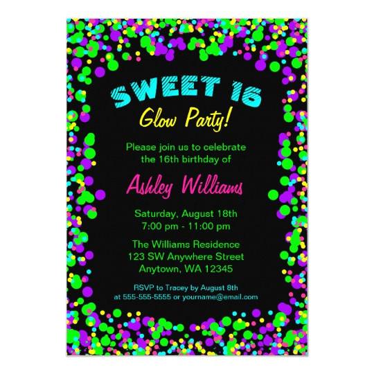sweet 16 neon glow confetti birthday party invitation 256918795176200317