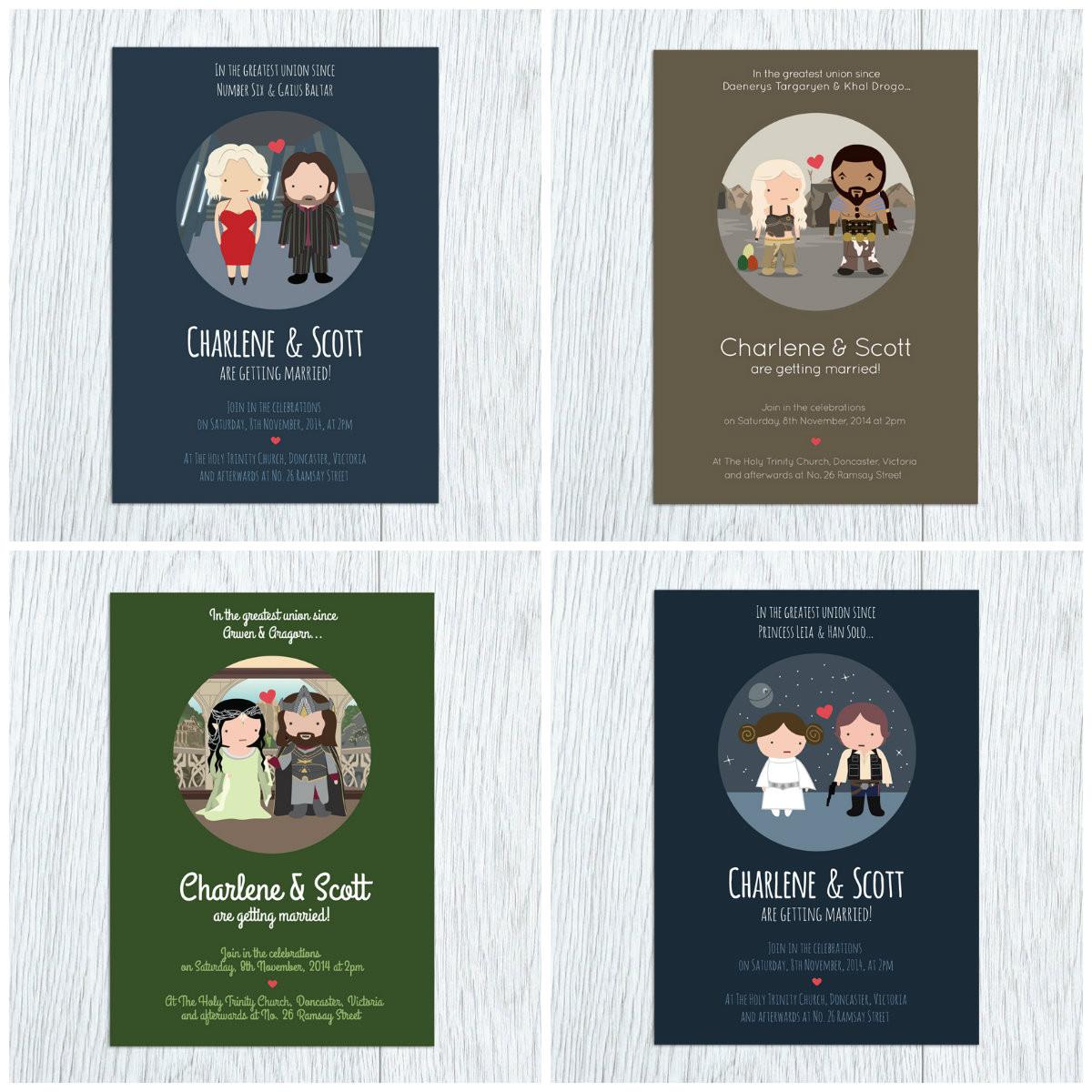 adorable fandom wedding invitations