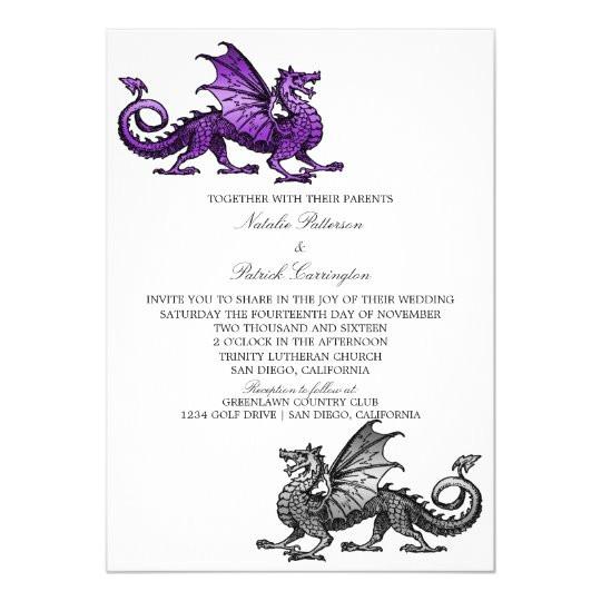 purple silver dragon wedding invite 256050698451523487