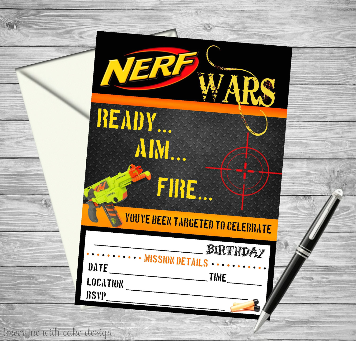 nerf wars printable birthday invitation