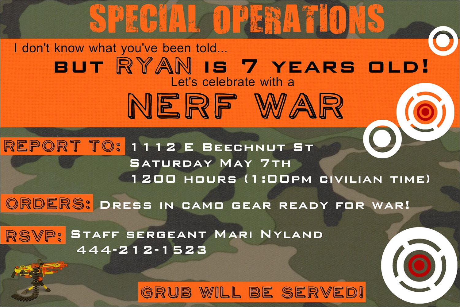 nerf birthday invitation you print