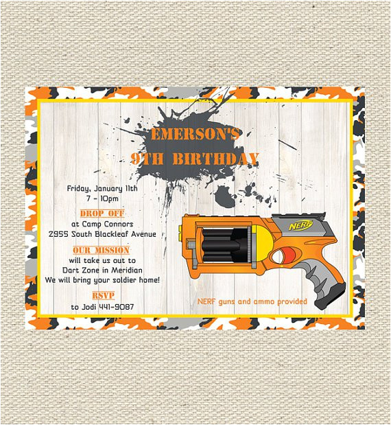 nerf birthday invitations printable