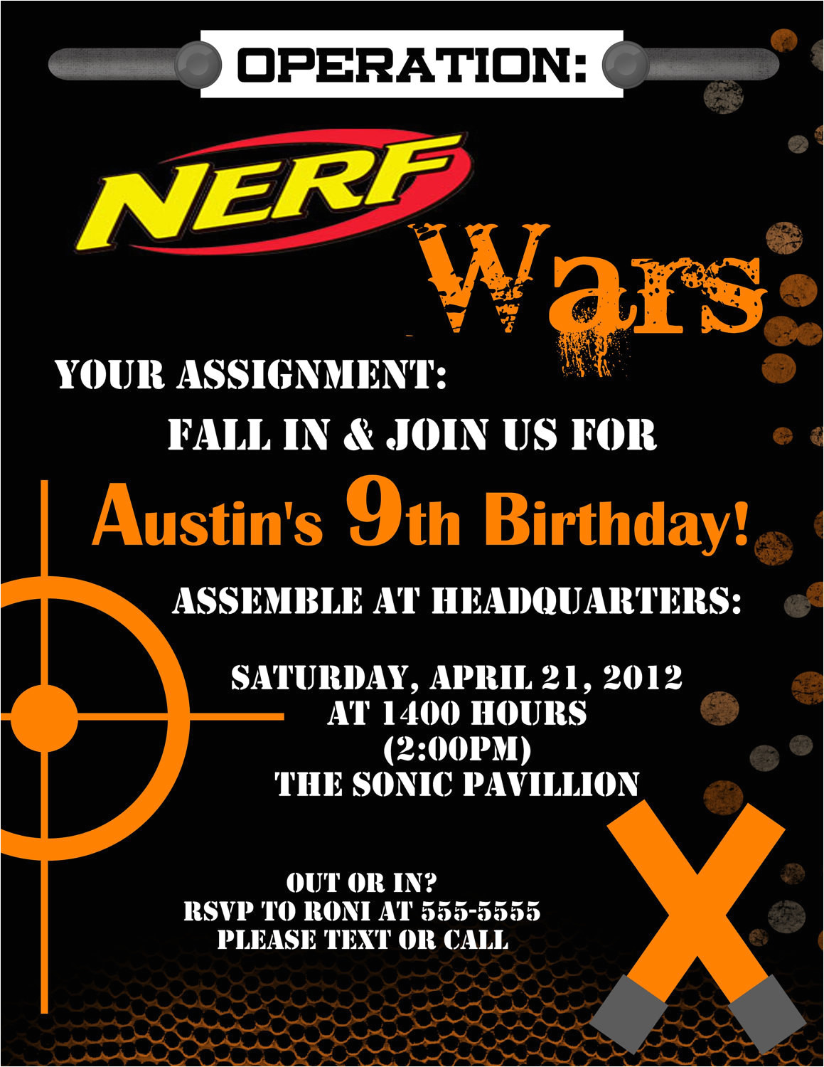 nerf dart digital birthday invitation