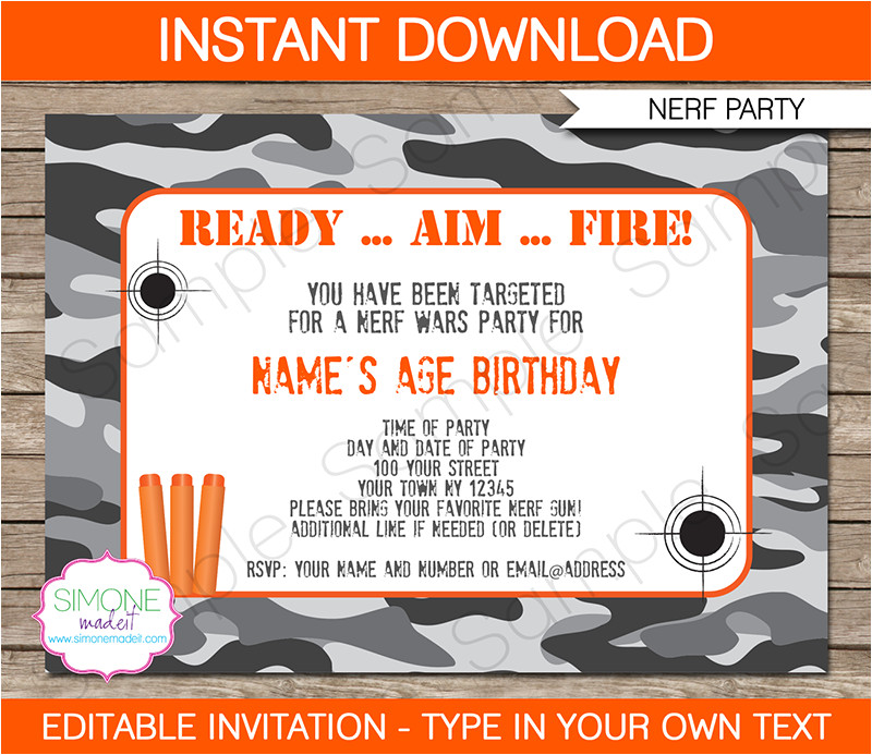 nerf party invitations printable