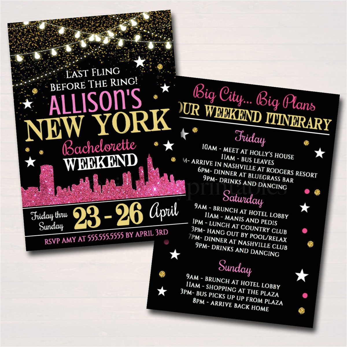 editable new york city bachelorette party invitation glitter pink gold party invite city skyline girls weekend itinerary instant download 2535