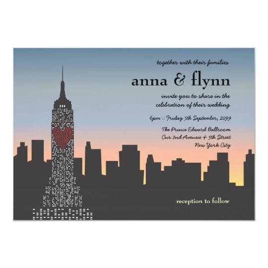 new york city sunset skyline wedding invitation 161463564367338444