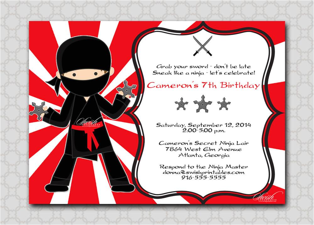 ninja birthday invitation printable