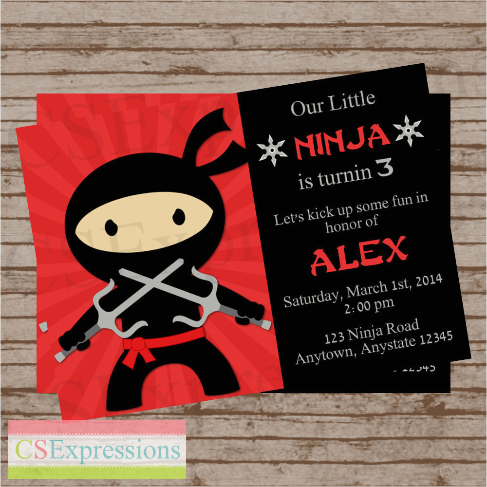 ninja party birthday invitation