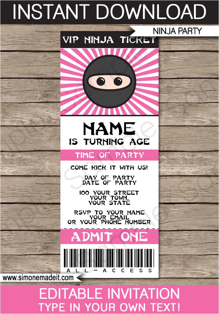 pink ninja party ticket invitations template