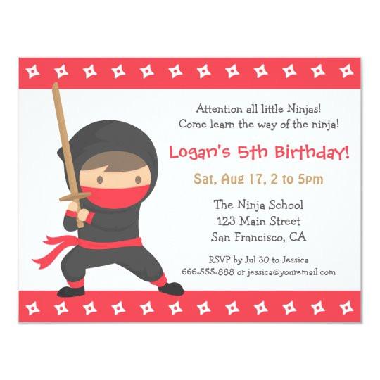 way of the ninja kids birthday party invitations 256726504643188537