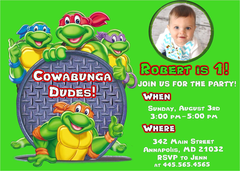 ninja turtle birthday party invitations