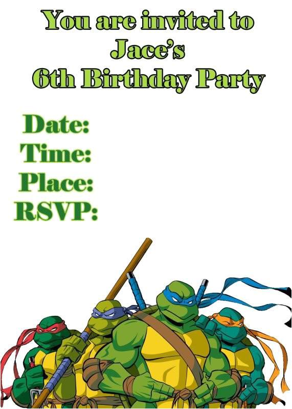 ninja turtle invitation templates