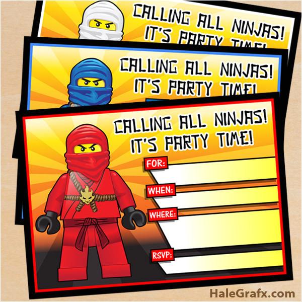 free printable lego ninjago birthday invitation set
