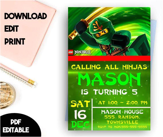 ninjago invitation ninjago birthday