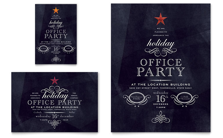 office holiday party flyer ad templates xx1020701d