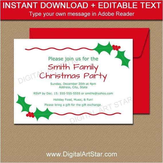 editable christmas party invitation