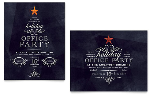 office holiday party flyer ad template design xx1020701