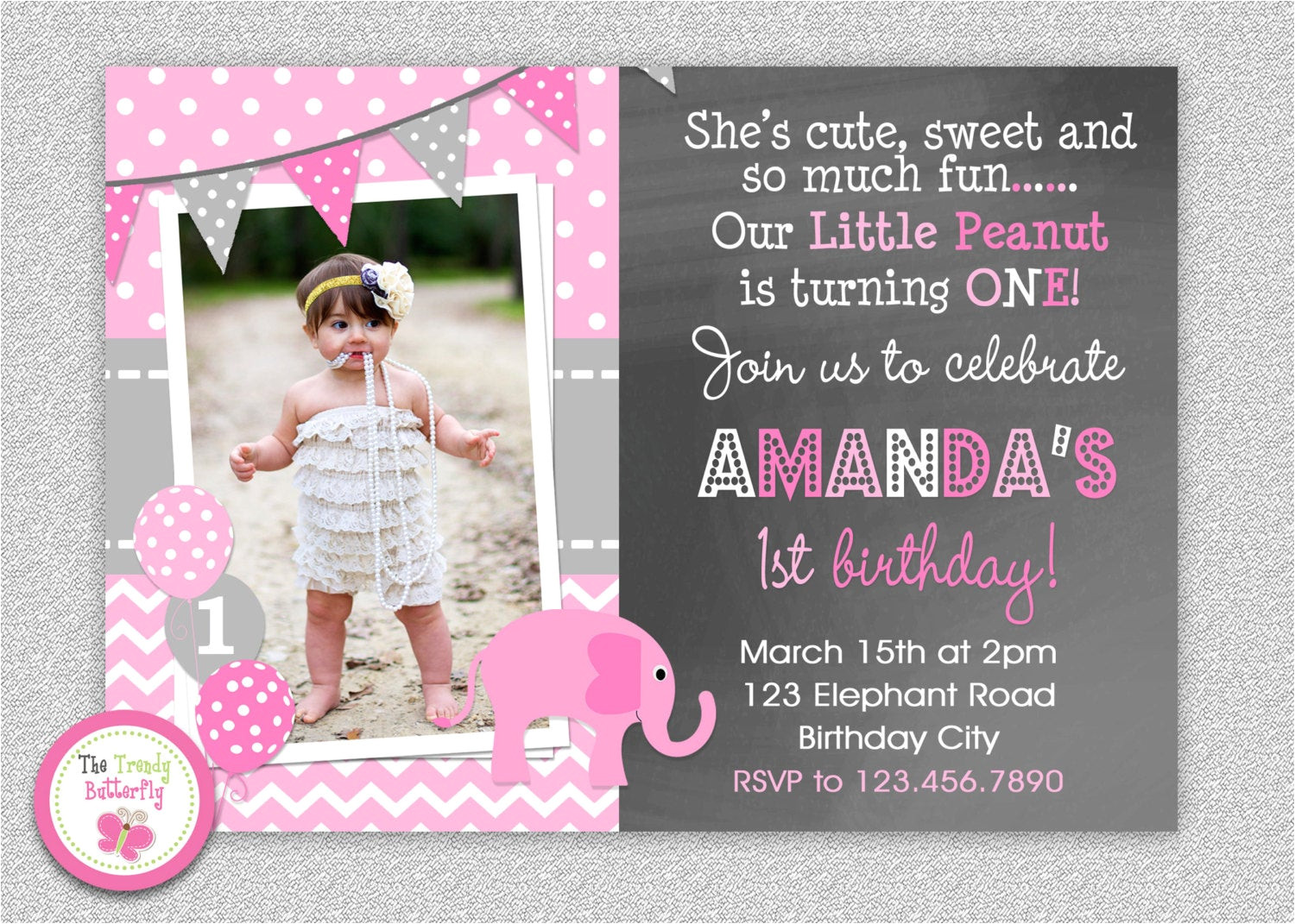 One Page Birthday Invitation Template Elephant Chalkboard Birthday Invitation 1st Birthday