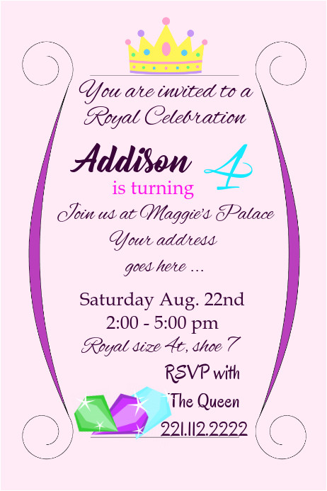 royal birthday girl party invite flyer template
