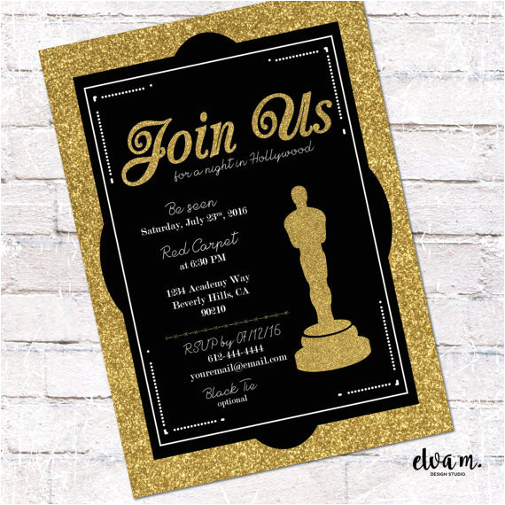hollywood oscar party invitation academy