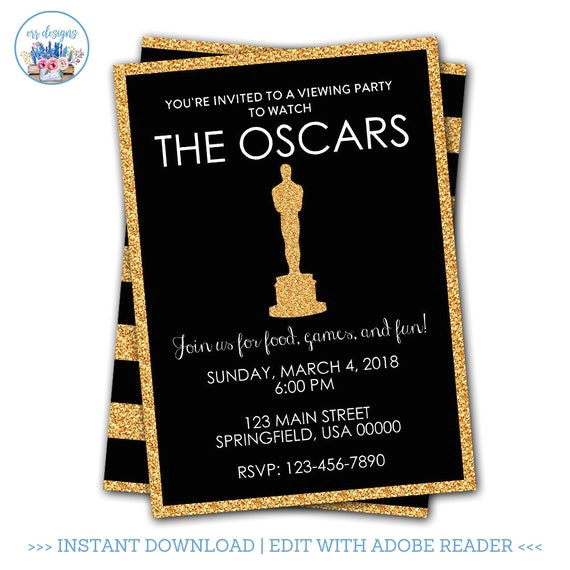 oscar party invitation editable oscar
