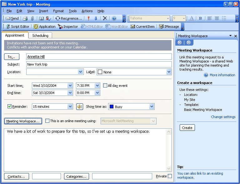 microsoft outlook set a recurring meeting at different