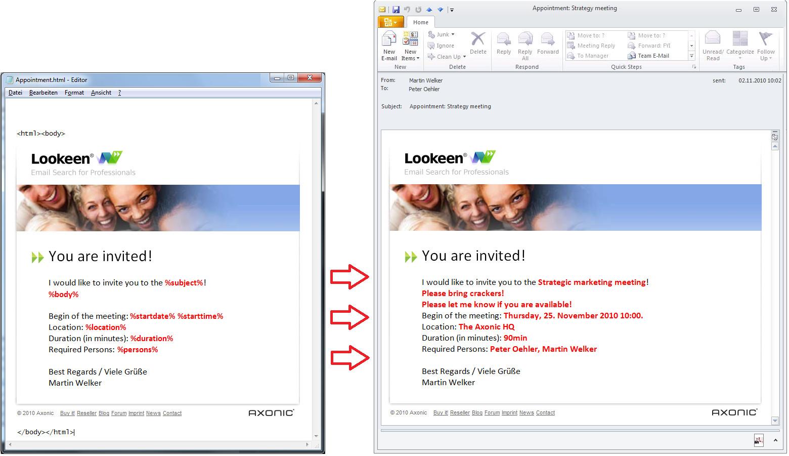outlook invitation templates