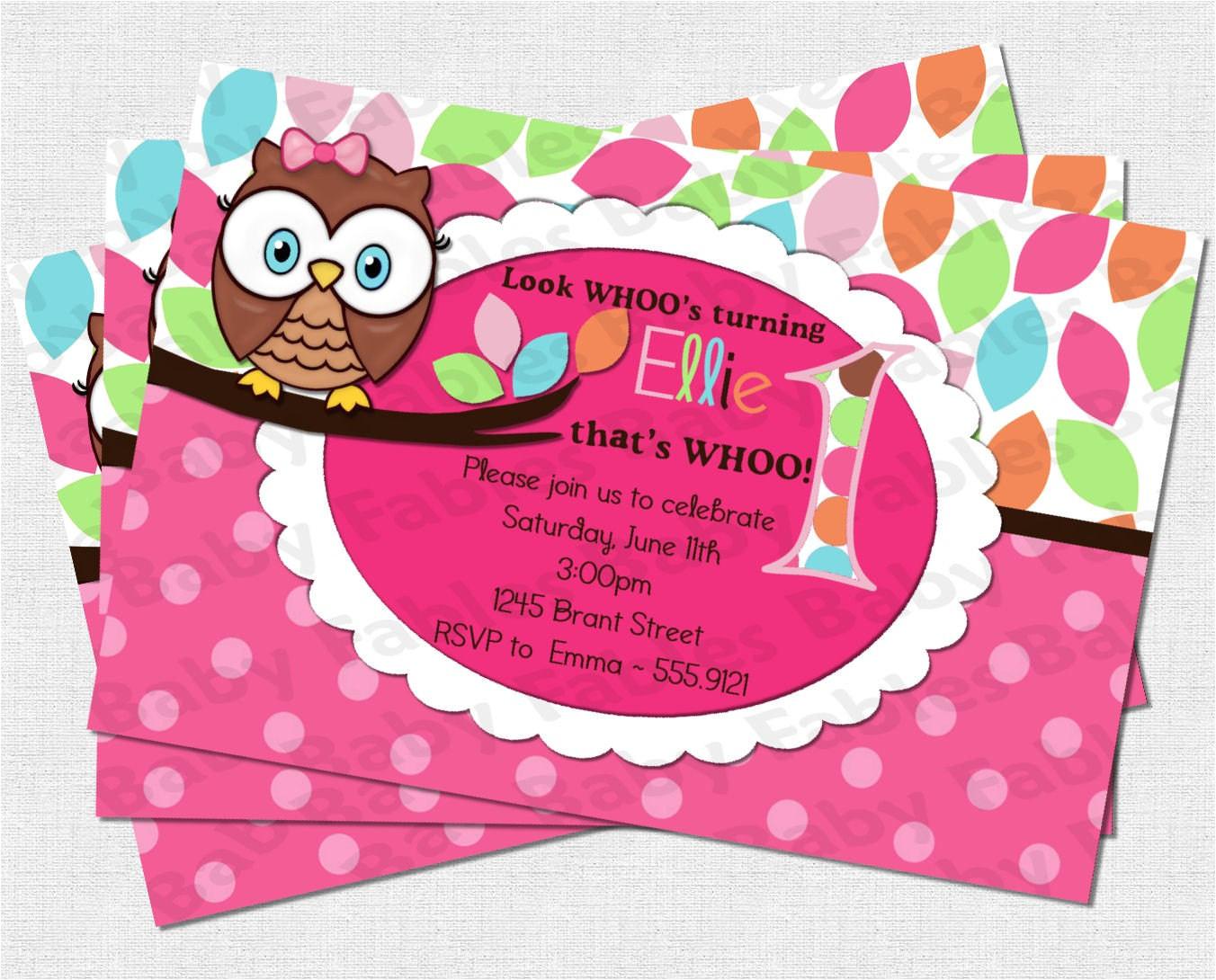 pretty owl birthday party invitation