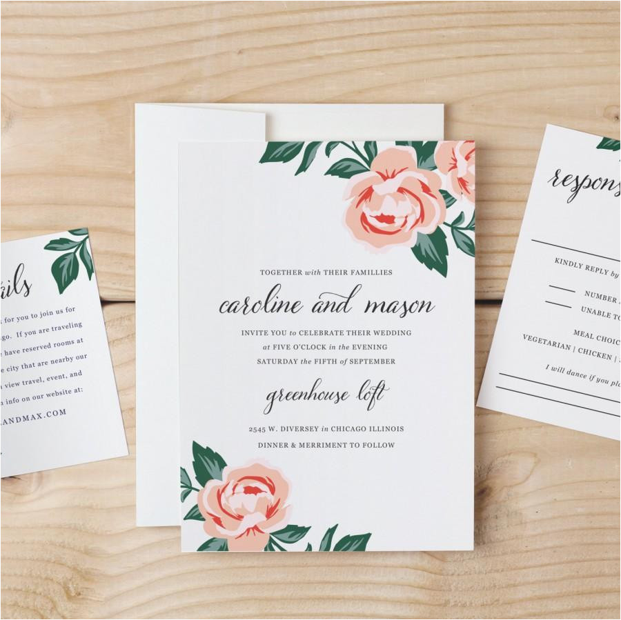 diy wedding invitation template colorful floral word or pages mac or pc change the colors text print at home instant download