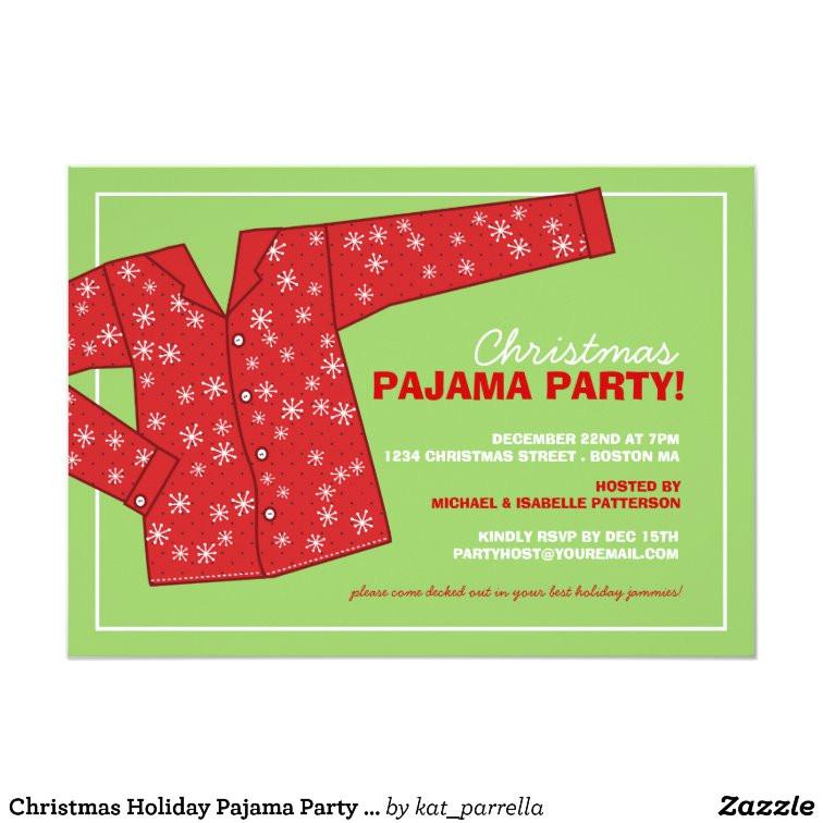 christmas holiday pajama party invitation 161093932883317098