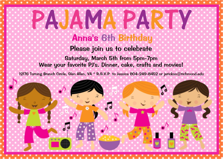 pajama party birthday invitation