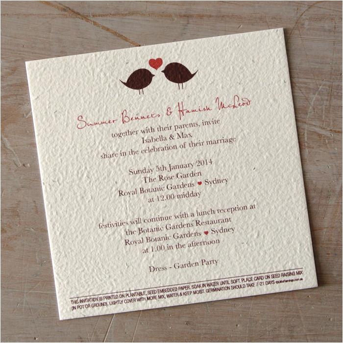 2 little birds seeded paper wedding invitation