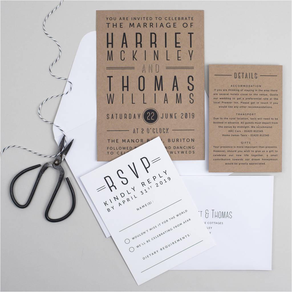 chevron type wedding invitation