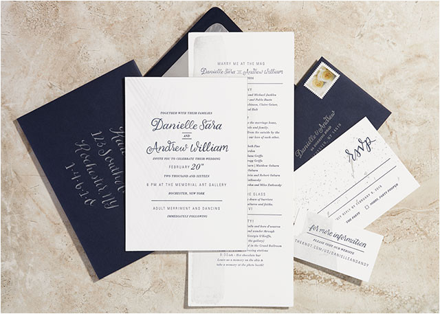 navy and silver hand painted wedding invitations