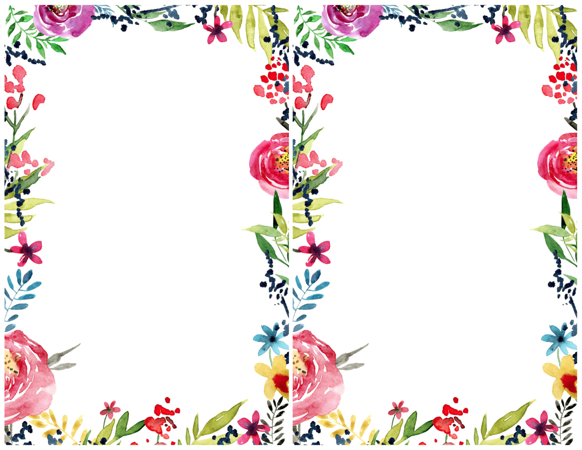 floral borders invitations free printable templates
